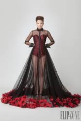 See Through Сексуальная Черный и Красный вечерние платья высокий воротник кнопки назад формальные пром платья Саудовская Аравия Дизайн с