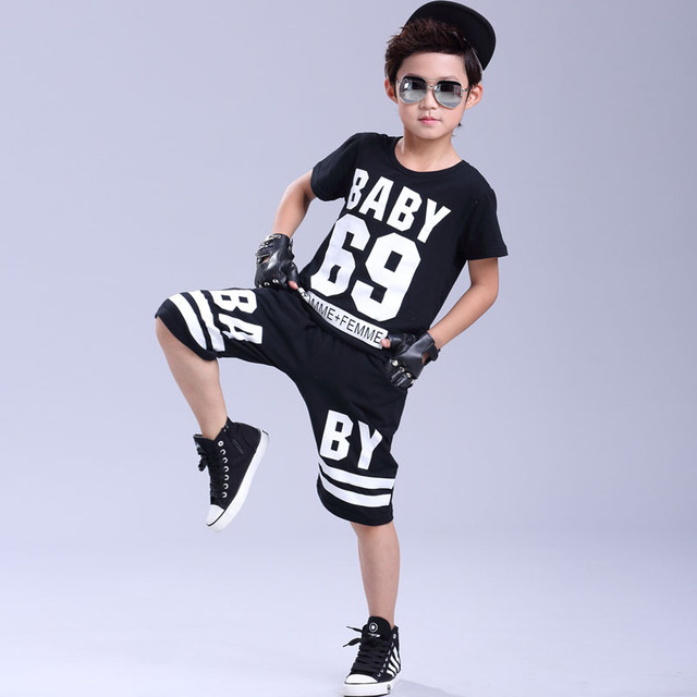 US $17 3 | Summer 69# printing Kids Clothes Rock Punk style hip hop Street  dance boy clothes set Short Sleeve Pullover Black Sports Suit-in Clothing