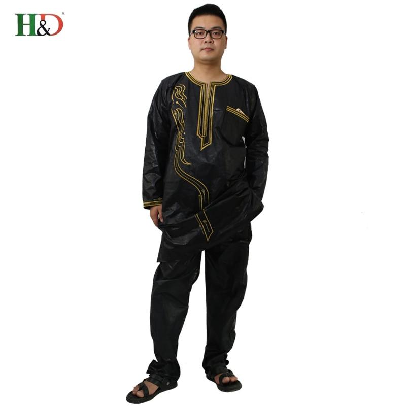 H&D (Besplatna dostava) Afrički čovjek modni dizajn Bazin Riche vez - Nacionalna odjeća - Foto 4