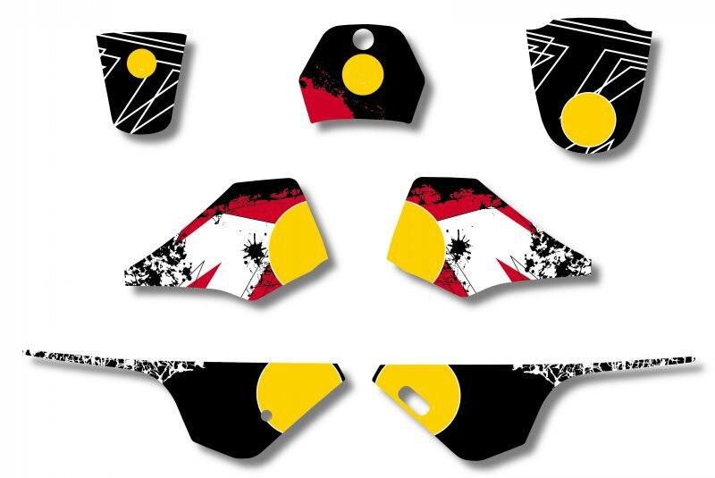 Bull Новый стиль КОМАНДА ГРАФИКА и фоны деколи kitsFor Yamaha PW 80 велосипед ямы (черный/белый)