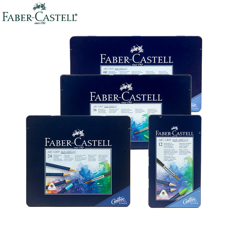 Faber Castell 12/24/36/48/60 Colors Blue Iron Box Professional Water Soluble Color Pencil Triangular Lattice Not Easy To Break faber castell 12 24 36 60 colors blue tin lattice water color water soluble colour pencil