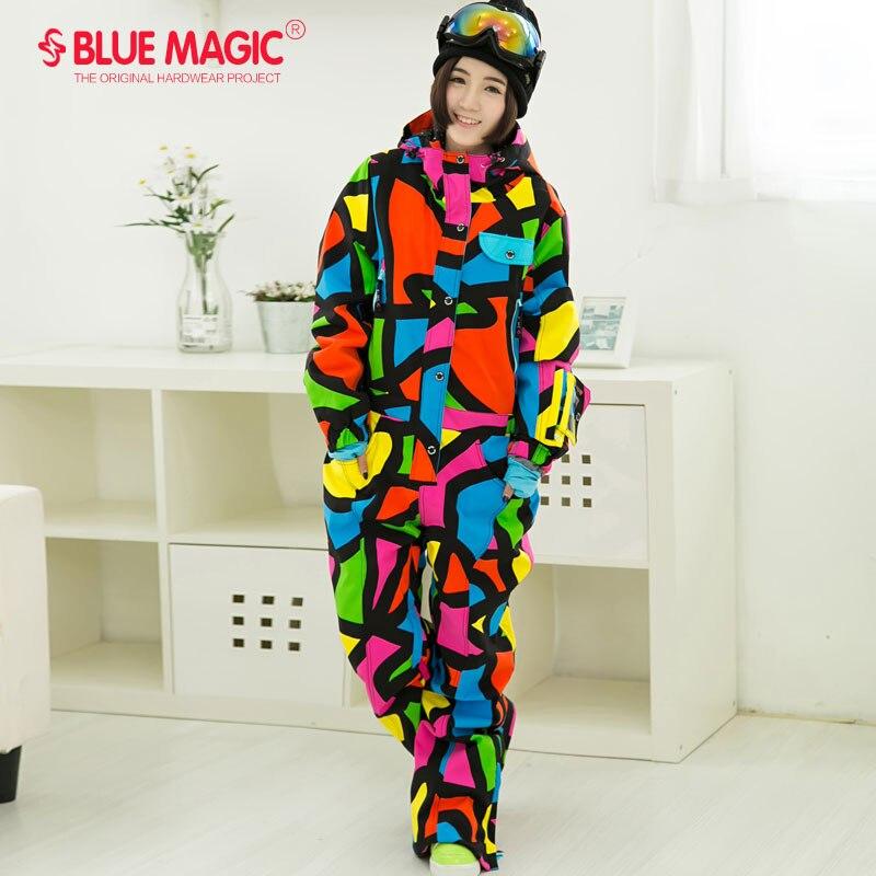 Синий волшебный водонепроницаемый Сноубординг цельный лыжный комбинезон женский сноуборд-30 градусов лыжный костюм зимняя одежда комбинезон - Цвет: Picasso