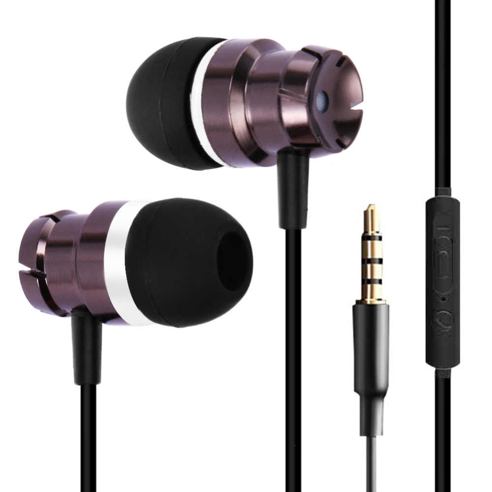 Metal Di Ear Earphone Turbo Bass Kabel In-Ear 3.5 Mm Wired Headset Headphone dengan Mikrofon Universal untuk Komputer ponsel