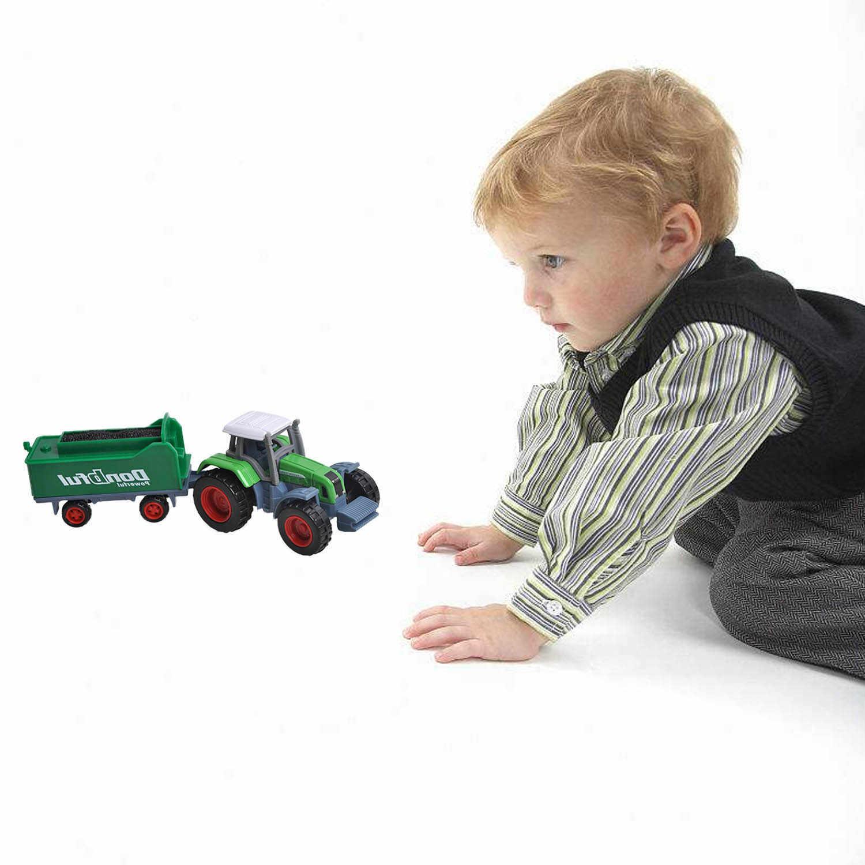 Besegad 4 Pcs Mini Lucu Alloy Traktor Pertanian Trailer Mainan Kendaraan Bermain Set untuk Anak Laki-laki Anak-anak Natal Hadiah
