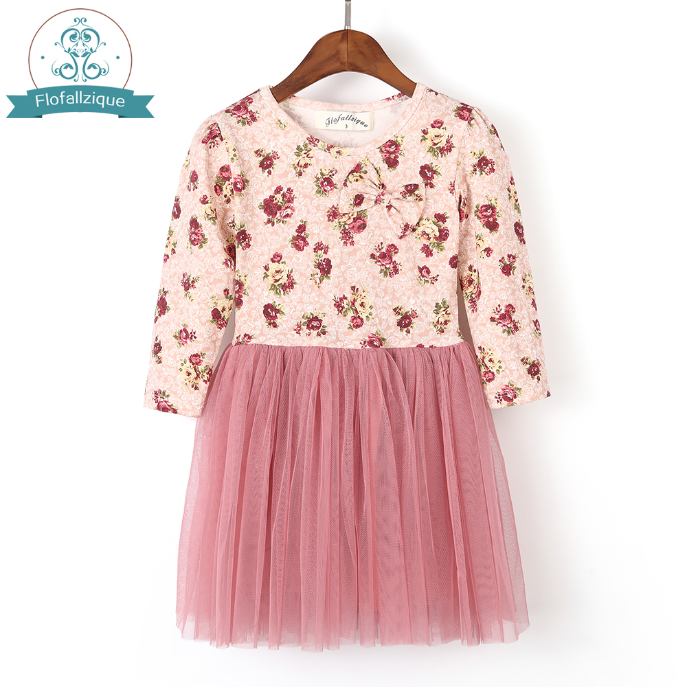 Christmas Girls Winter Dress 2018 Autumn Long Sleeve Floral Printed with Tulle ball Gown Party Princess Kids Dresses for Girl floral printed empire waist dress with tube top