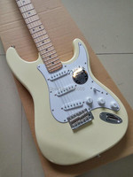 Hot Sale Creamy Yellow Color St Electric Guitar Basswood Body 22 Frets Maple Fingerboard High Quality