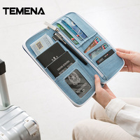 Temena New Multifunction Denim Travel Passport Cover Wallet Embroidery Money Bag Travel Purse Passport Cover Crad
