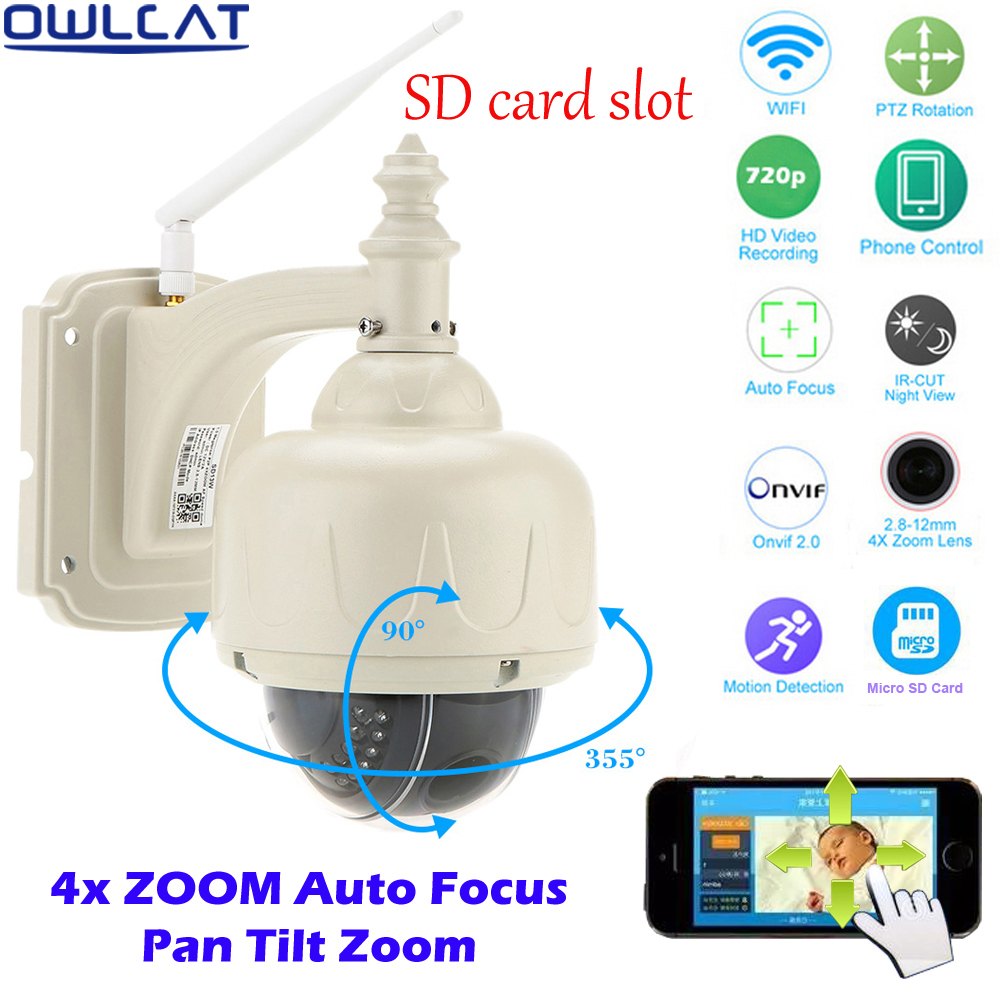 OwlCat HD 720P 1080P Security CCTV Outdoor PTZ Wireless Speed Dome WIFI IP Camera 2.8-12mm Focus lens 4X Auto Zoom Micro SD Card 2016 outdoor 1080p wifi ptz camera array ir 2 8 12mm lens 4x optical zoom auto focus waterproof speed dome cam support sd card
