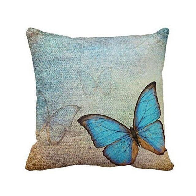 Copertura del cuscino blu bella farfalla dropship Coperture per Cuscini Divano V