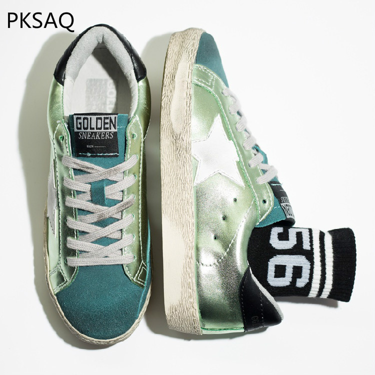 Spring Autumn Women Make Old Dirty Shoes Flat Lace Up Casual Shoes Round Toe Star Green Shoes B size 34 48 spring autumn lace up flat shoes women classic solid color round toe oxfords shoes high quality retro casual shoes