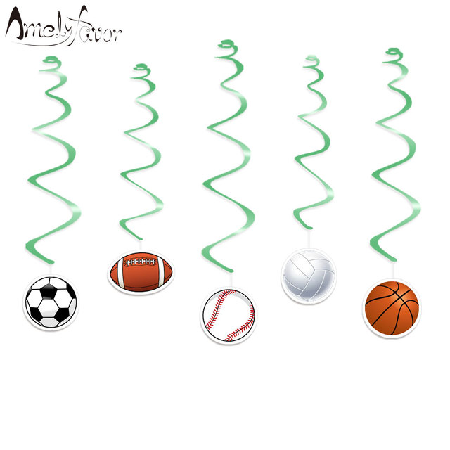 Sports Balls Ceiling Hanging Swirl Decorations Cutout Baby Shower