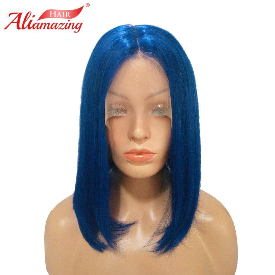 Ali Amazing Hair Short Bob Wig For Black Women Brazilian Remy Hair 250% Density Lace Front Human Hair Wigs Bleached Knots