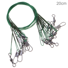 20pcs 20cm Anti-bite Fishing Lead Line Rope Wire Fishing Tackle Lures Line Green Fishing Leader Trace Spinner Shark expert