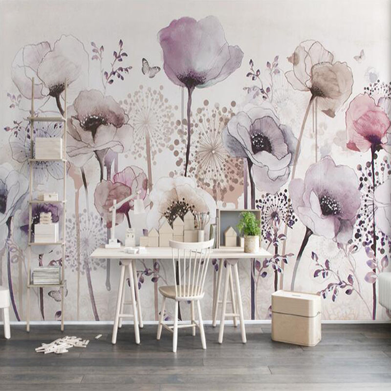 Custom Any Size Mural Wallpaper 3D Watercolor Hand Painted Floral Photo Wall Painting Living Room Bedroom Home Decor Wall Papers
