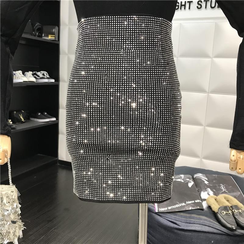 Sexy Autumn Hot Diamond Pencil Skirt Female Stretch Trim Package Hip Half Skirt Sparkle Skirts D215