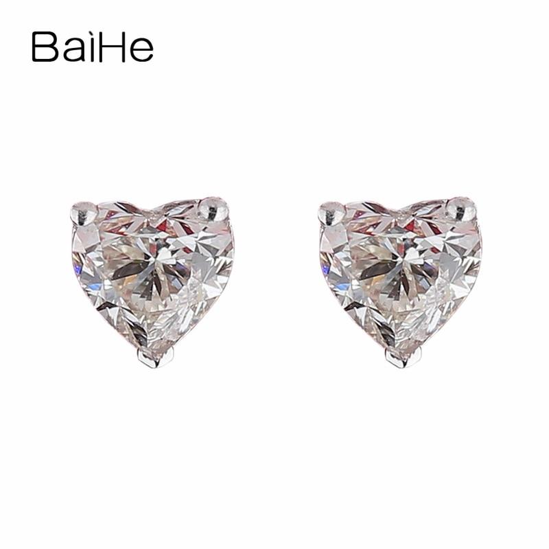 Girls Jewellery 14K White Gold Plated Heart Cut CZ Earrings For Womens