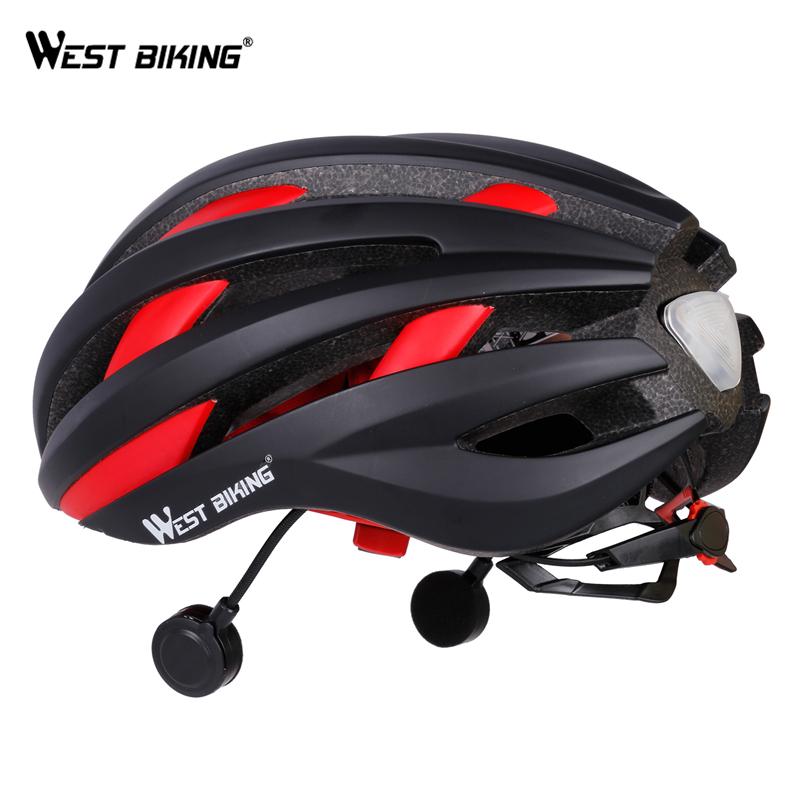 WEST BIKING Intelligen Bicycle Bluetooth Helmet With Taillight USB Ultralight Integrally EPS Cycling Bike Helmets With Bluetooth west biking bike chain wheel 39 53t bicycle crank 170 175mm fit speed 9 mtb road bike cycling bicycle crank