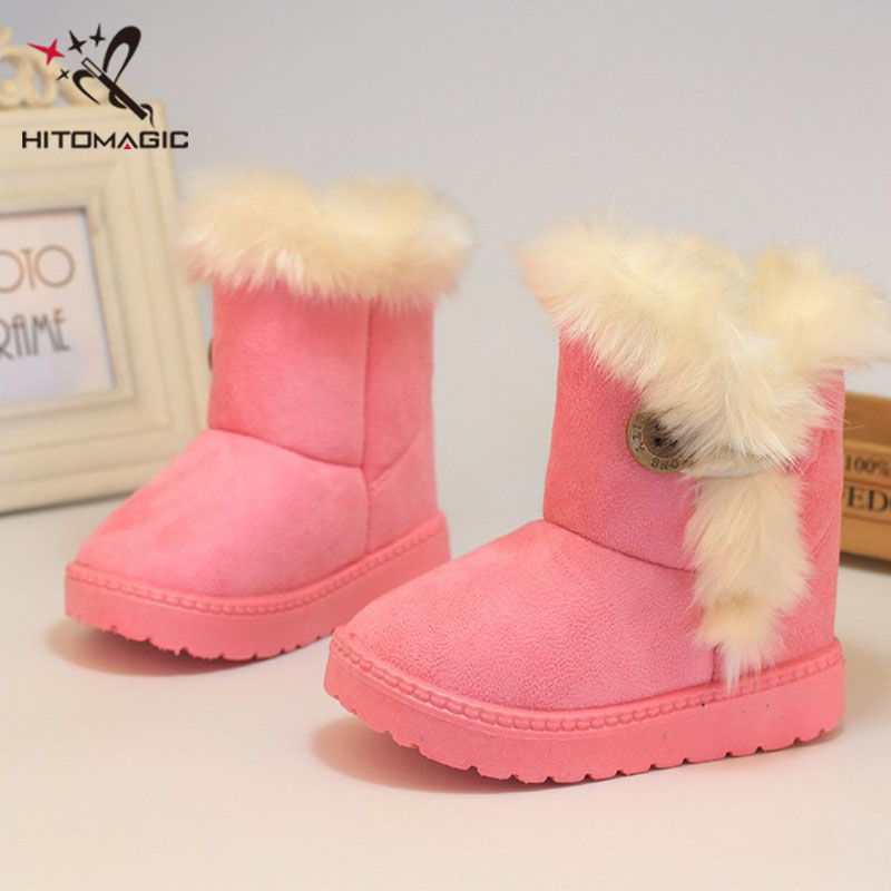 Girls Kids Childrens Faux Fur Buckle Button Ankle Winter Boots Slippers Shoes