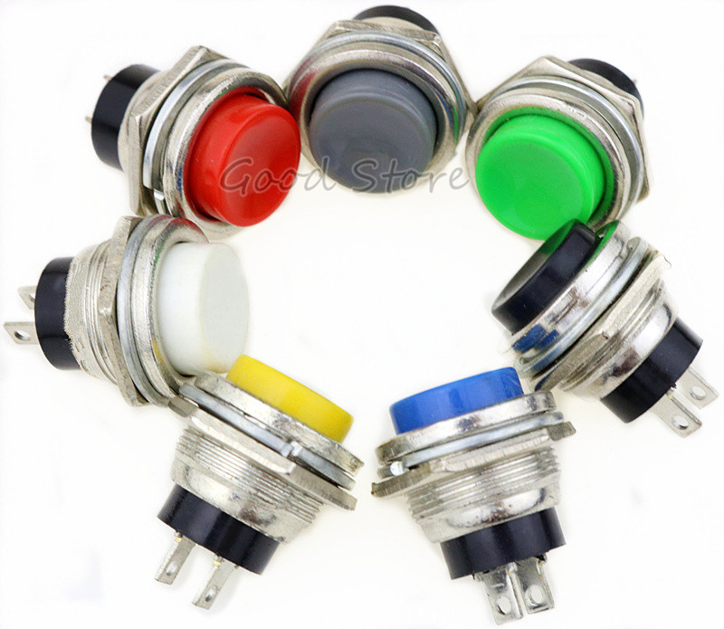 1PCS DS 212 Momentary SPST NO Red Gray Green White Black Blue Yellow Round Cap Push Button Switch AC 125V 3A DS212 in Switches from Lights Lighting