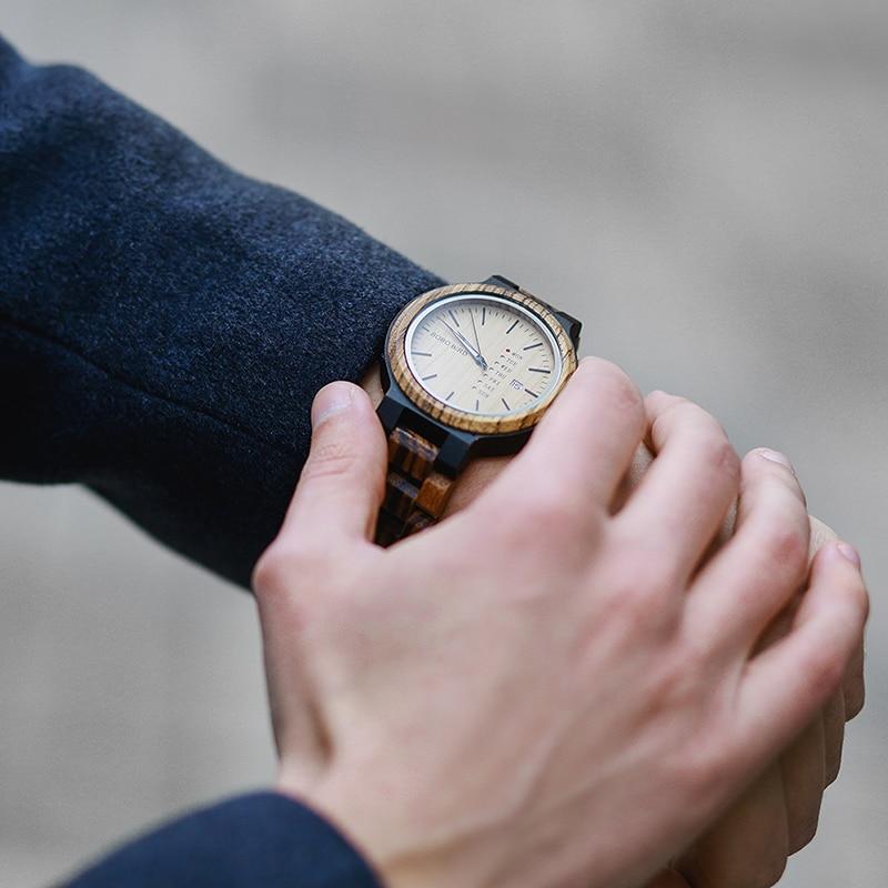 Image 5 - relogio masculino BOBO BIRD Men Watch Wooden Business Auto Date Week Display Timepiece Relogio Customize Logo U O26Quartz Watches   -