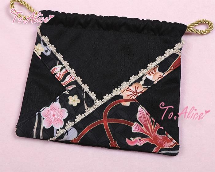 Princesse douce lolita à Alice Original fleur tête série impression couture porte-monnaie coton mode femmes sac à main BAG208