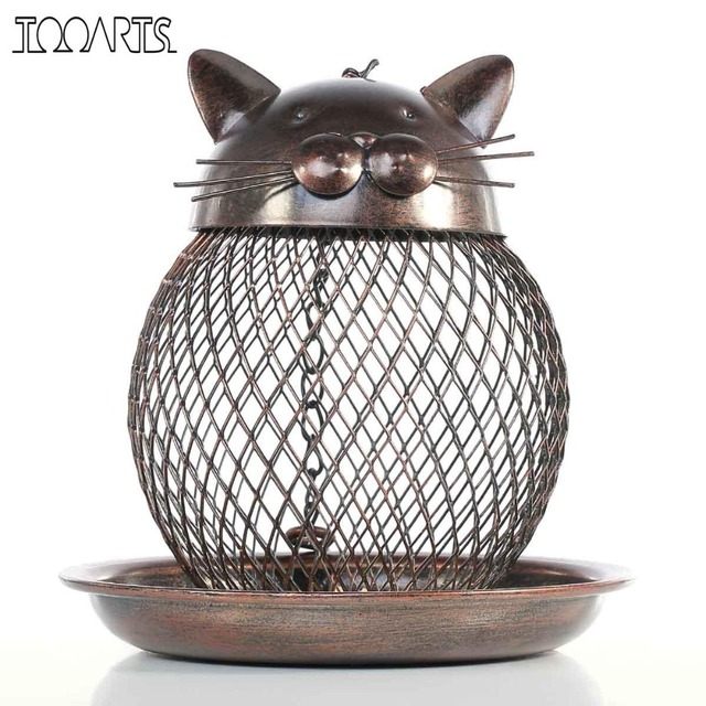 Tooarts Cat Shaped Bird Feeder Cat Shaped Vintage Handmade Outdoor Decor Villa Garden Decoration Hanging Bird Outdoor Feeder