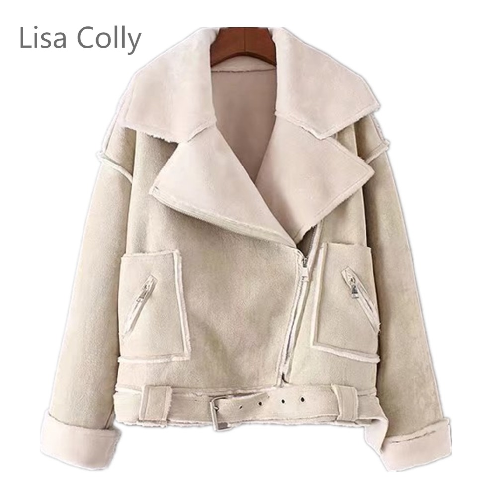 Lisa Colly New Leather suede lambs Wool Jacket Coat Women Thick Faux suede Jacket Coat Overcoat Women PU leather Coat Outwear