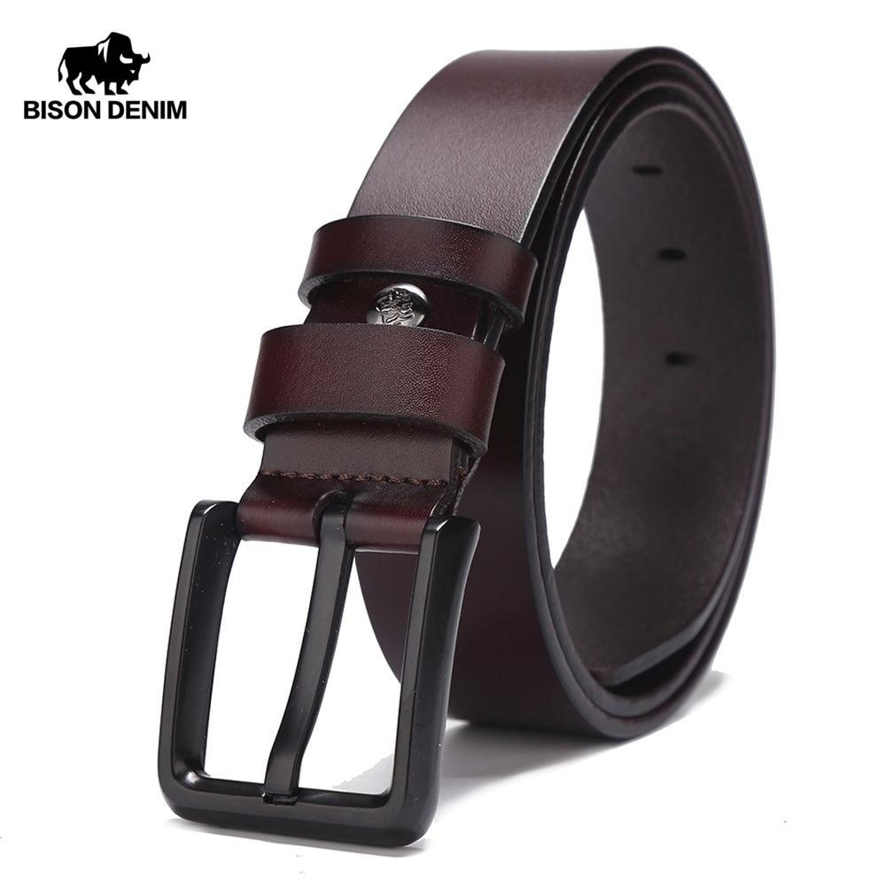 BISON DENIM Nuevo 100% piel de vaca cuero genuino Cinturones Cinturón de hombres de la vendimia para el regalo de los hombres cinturón de cuero cinturon hombre W71153