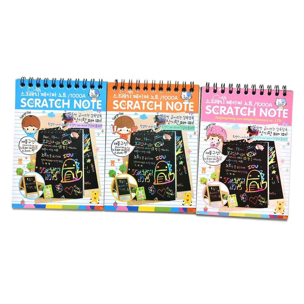Scratch Stickers Note Book Drawing Sketchbook Children Gift Creative Imagination Development Toy Stationery