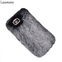 5S Case Luxury Rabbit Fur Hair Hard Mobile Phone Case For Apple IPhone 6 6s 6plus