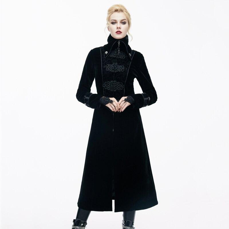 2018 Diable De Mode Dames Gothique Magnifique Vestes Steampunk Noir Rouge Automne Col Haut Long Hiver Manteaux Manteaux manteau Femmes