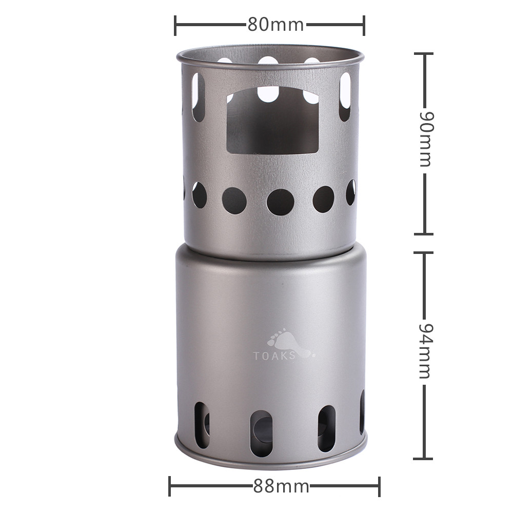 TOAKS Outdoor Camping Hiking Backpacking Ultralight Titanium Wood Stove Burning Stove (Small) Outdoor Titanium Ti Cooking System