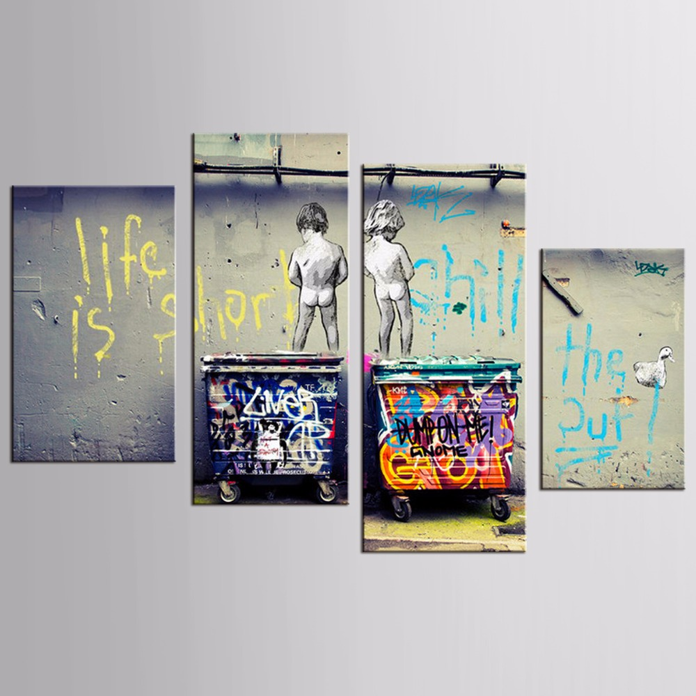 Canvas Printings Cartoon children landscape series 4Piece Modern Style Cheap Pictures Decorative Wall Art No Frame Prints Gift in Painting Calligraphy from Home Garden