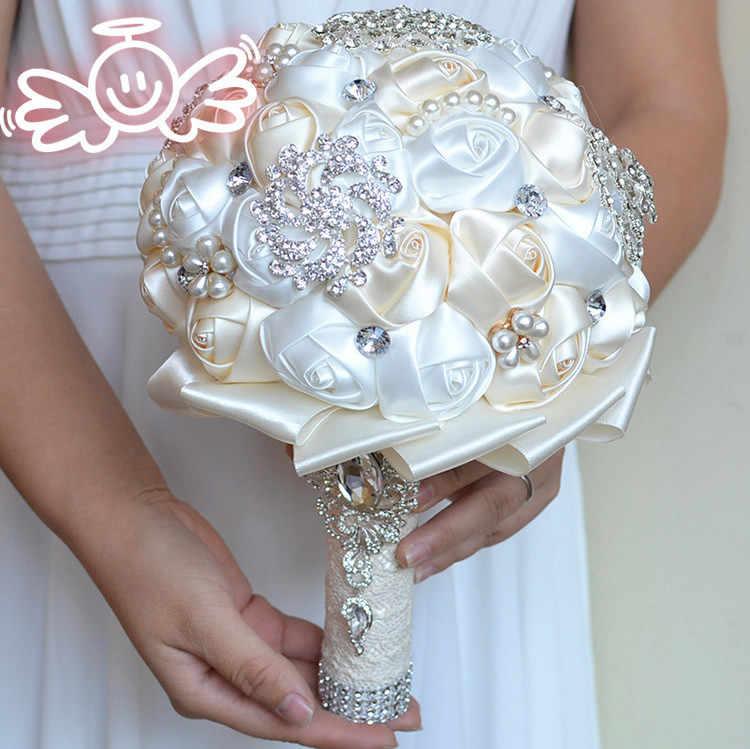 Rosa di Cristallo Bouquet Da Sposa In Rilievo Spilla bouquet da sposa accessori Damigella D'onore artificiale Wedding flowers Bouquet Da Sposa