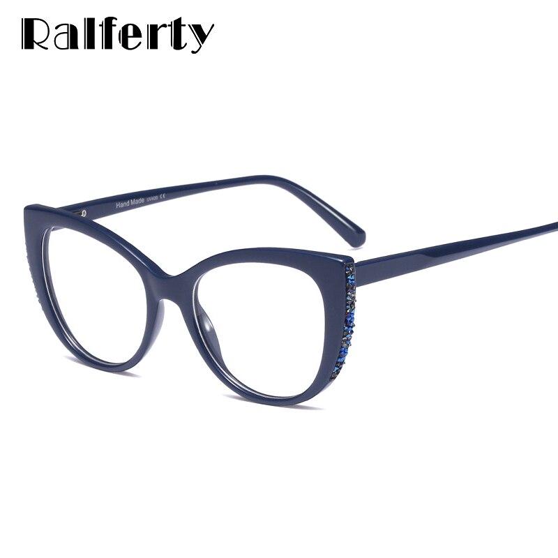 48c13630749 Ralferty Luxury Cat Eye Glasses Frame Women Eyeglass Retro Blue Myopia Optic  Frames Prescription Spectacles No