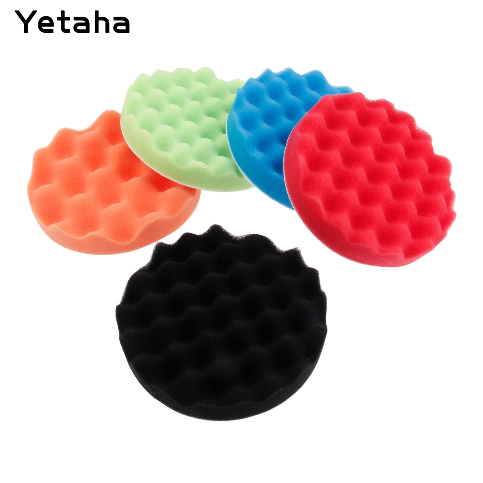 """5Pcs 6"""" 7"""" 150/180mm Buffing Polishing Sponge Pads Kit Car Polisher Soft Wave Foam Waffle Pad Car Wash Cleaning Detailing Tool-in Sponges, Cloths & Brushes from Automobiles & Motorcycles"""