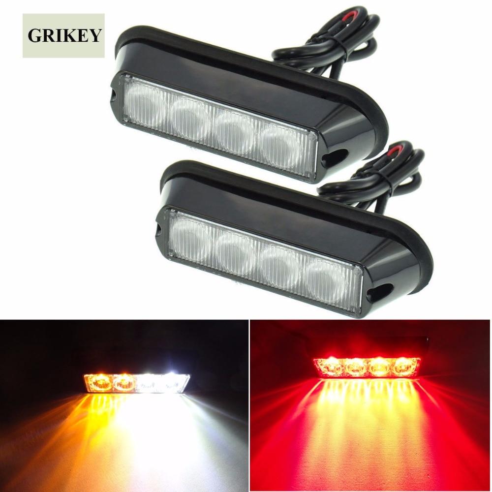 ✅2pcs amber 4 led car warning light flashing lamp emergency beacon