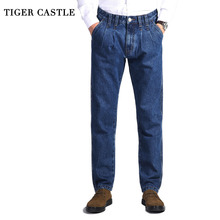 TIGER CASTLE męskie 100% bawełniane grube dżinsy spodnie dżinsowe modne niebieskie workowate męskie kombinezony klasyczne długie jakości wiosenne jesienne dżinsy