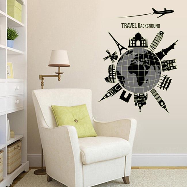 24 Creative Bedroom Wall Decor Ideas: TRAVEL BACKGROUND PVC Wall Sticker Home Decor Creative