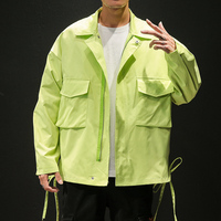 Lightweight Neon Yellow Black Olive Personality Loose Men Cargo Shirt Jacket Button Clousue Casual Hip Pop Wear