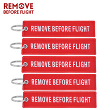Remove Before Flight Key Chain Embroidery Keychain for Aviation Gifts Red Fob Motorcycle Car Ring Chaveiro 5PCS/LOT