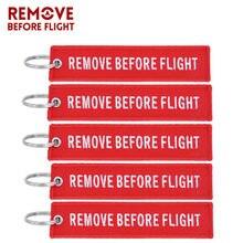 Remover antes do vôo chaveiro bordado chaveiro para presentes de aviação vermelho chave fob motocicleta carro chaveiro 5 pçs/lote