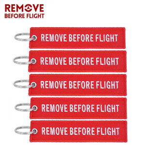 Remove Before Flight Key Chain Embroidery Keychain for Aviation Gifts Red Key Fob Motorcycle Car Key Ring Chaveiro 5PCS/LOT
