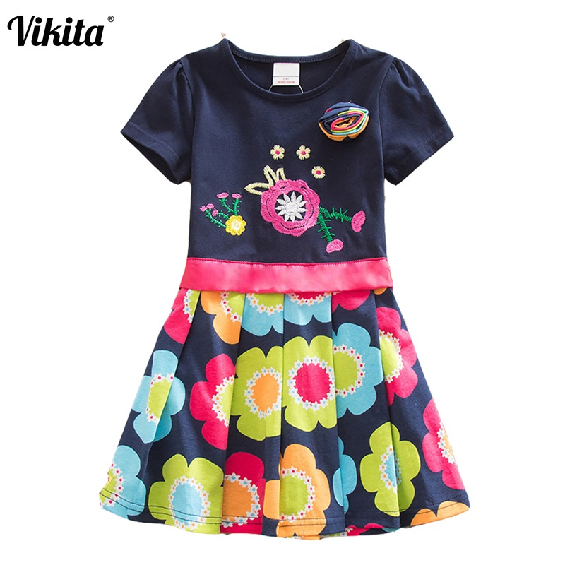 VIKITA 4-8Y Dress for Girls Baby Girl Children Tutu Dresses Princess Party Dresses Casual Vestidos Kids Girls Clothes SH5868 baby summer dress girl party toddler sleeveless next kids clothes tutu casual girls dresses wedding vestidos children clothing