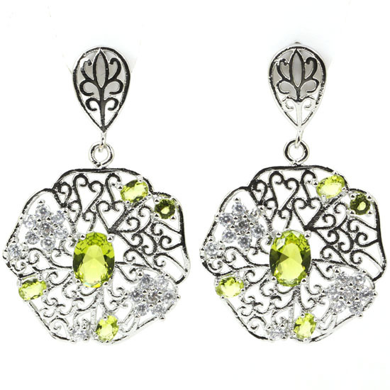 Hollow Green Peridot, White CZ Created SheCrown Woman's Wedding  Silver Earrings 43x27mm