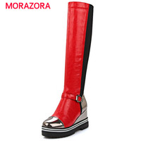 MORAZORA Round Toe Knee High Boots Platform Height Increasing Long Boots Autumn Winter Fashion Wedges Boots