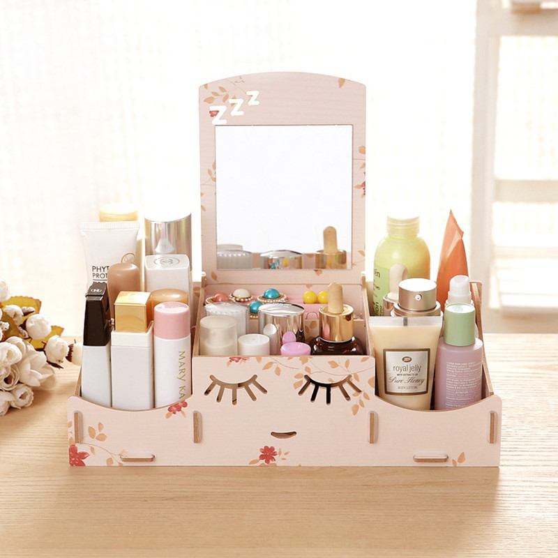 Diy Wood Board Storage Box Desk Decor Stationery Makeup