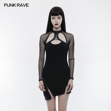 PUNK RAVE Women Gothic Steampunk Sexy Dresses Long Sleeves Hollow Out Zipper Dress Punk Rock Club Party