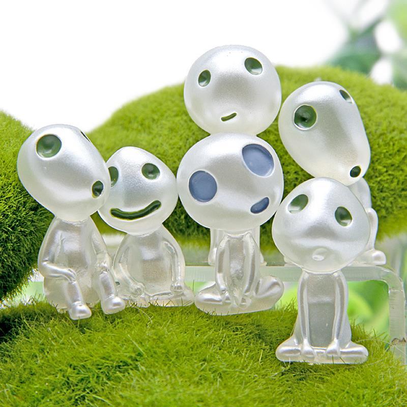 6 Styles Princess Mononoke Kodama Tree Spirit Cute Figures Toys Miyazaki Hayao Garden Resin Action Figure Collection Model Toy