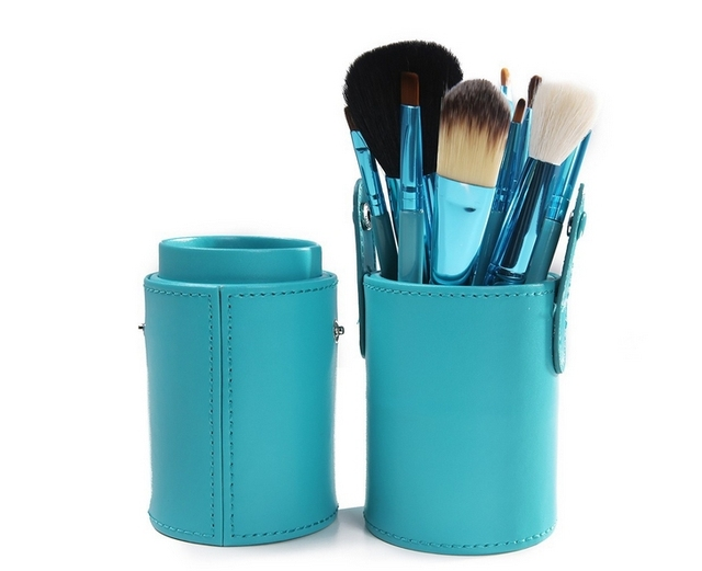Cyan Color Pro12 PCS Makeup Brush Set Cosmetic Brushes Cylinder Cup Holder and  Comfortable to use  High Fashion   Ladies' Favor